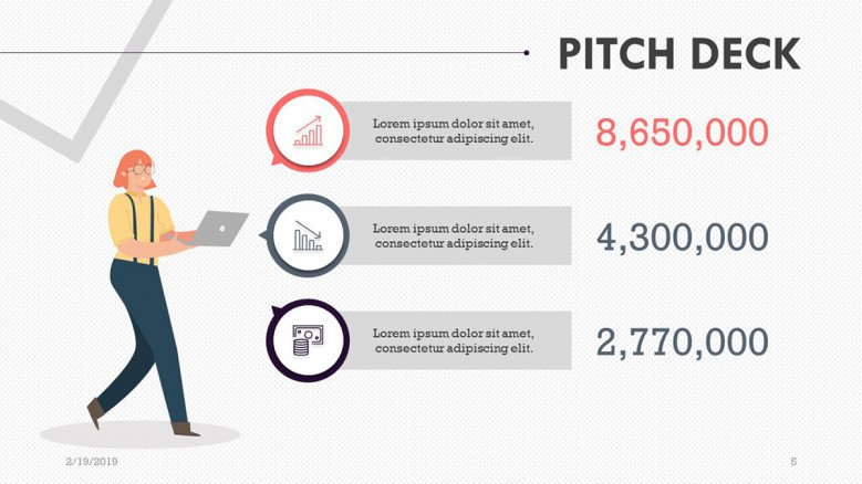 pitch deck presentation budget comparison slide with text box