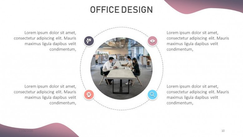Circle diagram for an office design presentation