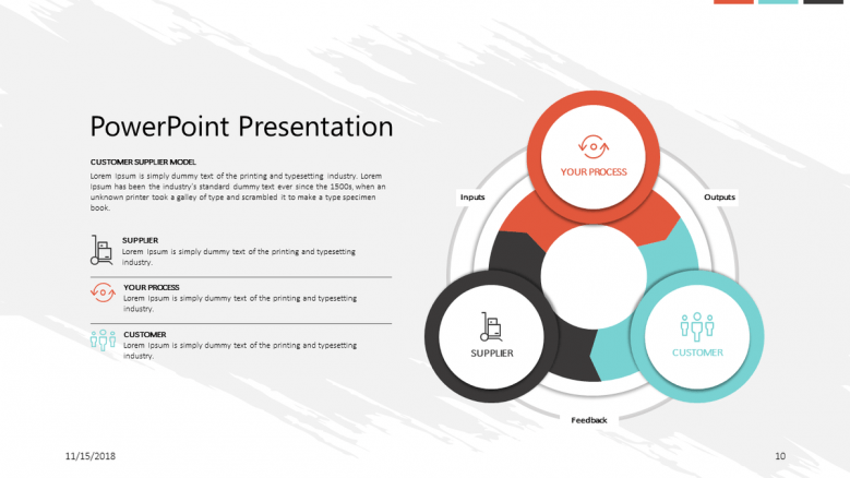 corporate presentation cycle chart in circles