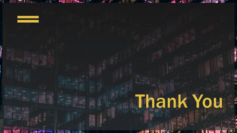 Elegant Thank You Slide in black and yellow