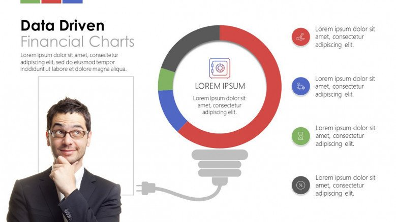 creative data driven financial circle chart with four key factor description and picture