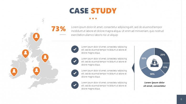 Client Case Study Slide with gray world map and blue data-driven pie chart in corporate style