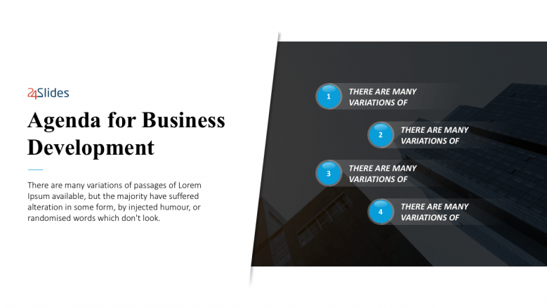 Simple 1 paragraph slide for business agenda