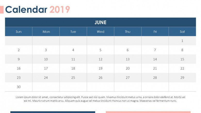 2019 calendar june with description text