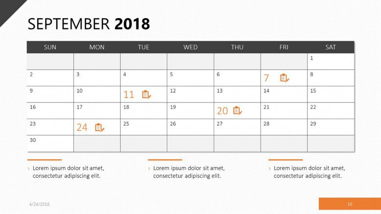 september 2018 calendar with events agenda
