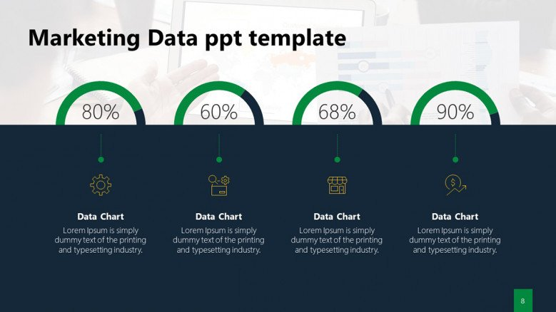 Marketing Analytics PowerPoint Free with circle charts and KPIs