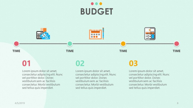 playful timeline chart for budget presentation in three points with icon and text