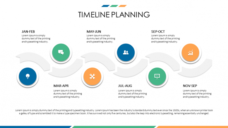 business presentation in timeline with circles