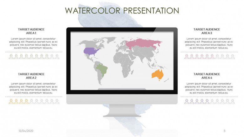Watercolor world map slide