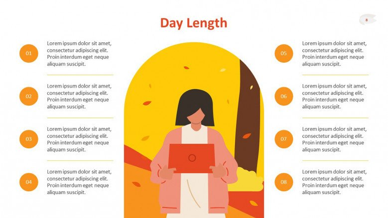 Fall Day Length Slide featuring an 8-hours list