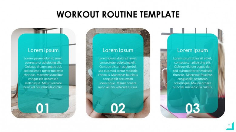 Workout Program PowerPoint Template with numbered boxes