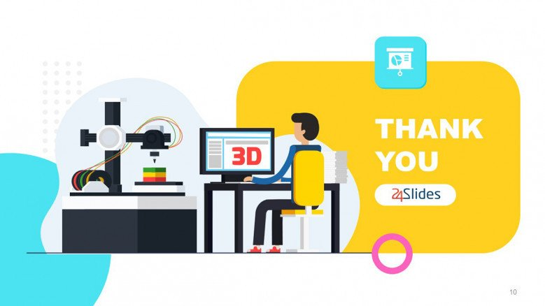 Playful Thank You Slide with 3D printing illustration