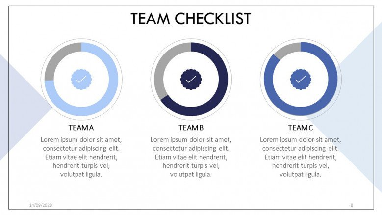 Team checklist slide with circle charts