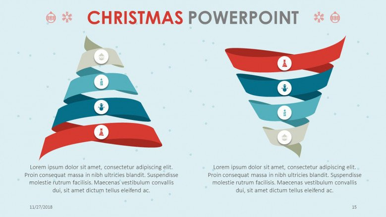 two funnel chart slide compared in christmas theme presentation