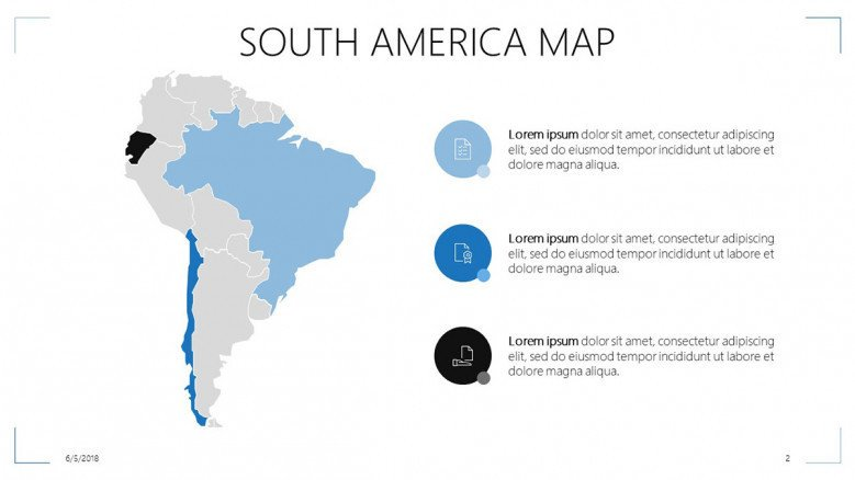 south america map overview slide in three key factors point