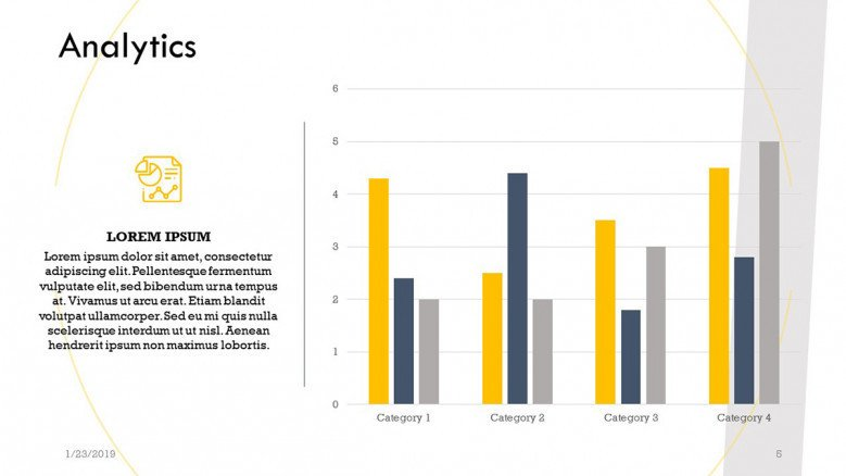 analytics slide with vertical compared bar graph