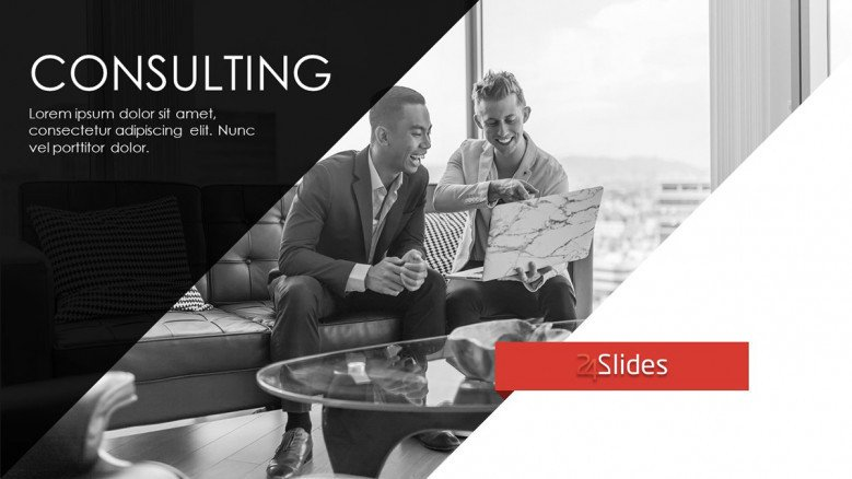 consulting welcome slide in corporate style