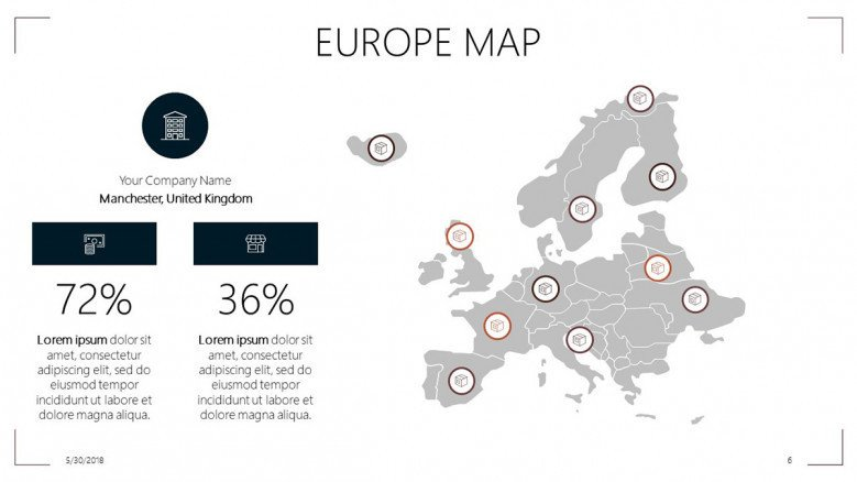 Europe map slide with data percentage and text