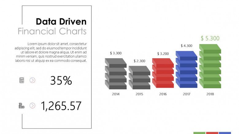 creative data driven budget and financial slide in bar graph