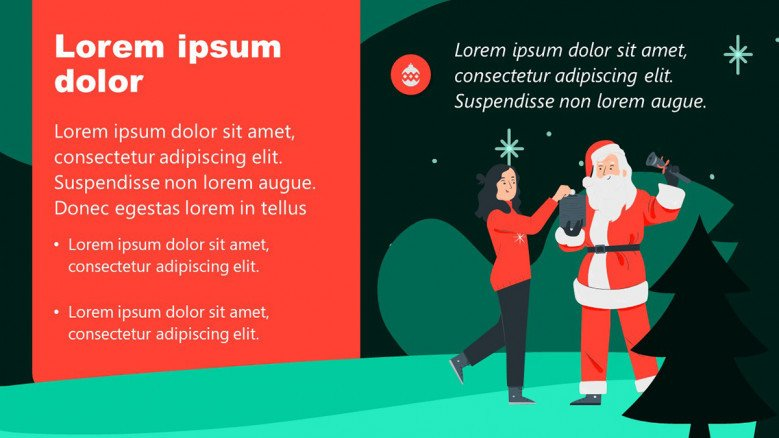 Christmastime PowerPoint Slide with Santa Claus Illustration