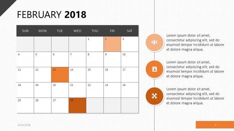February 2018 calendar with bulletpoints