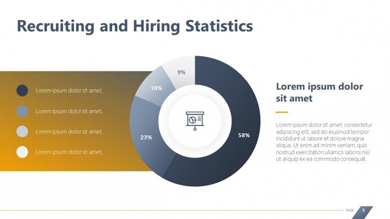 Creative circle chart for Recruiting and Hiring Stats