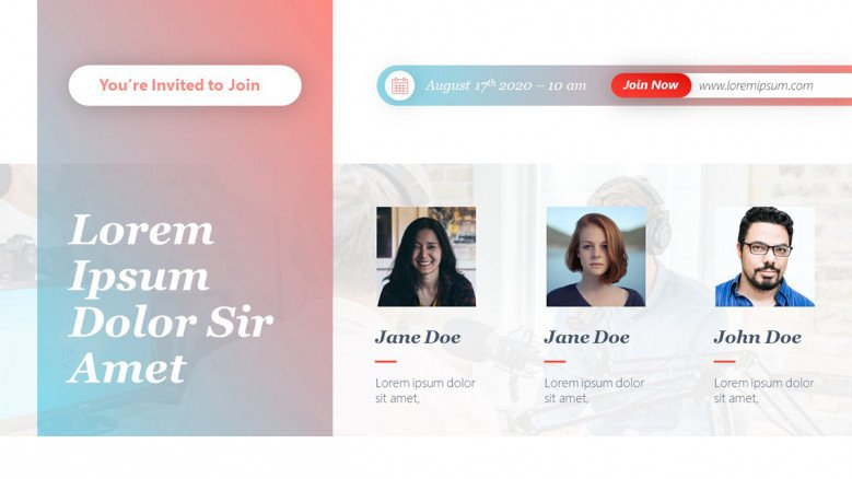 Creative Webinar Invitation Template featuring three speakers