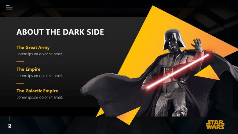 Star Wars Slide with a Darth Vader graphic