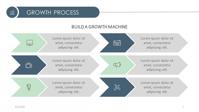 growth process presentation build a growth machine slide in chart and icons