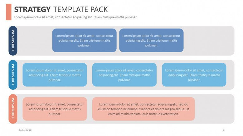 strategy slide with key points in boxes in three rows