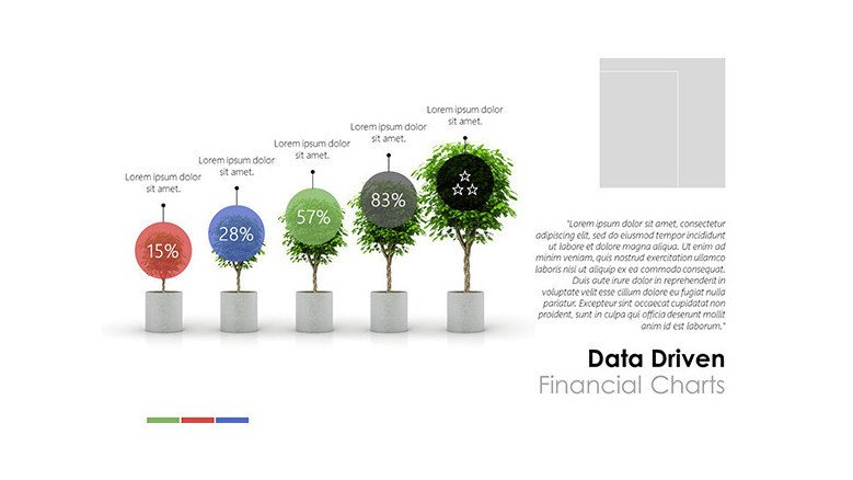 Creative data driven financial stair chart in trees with data information in text