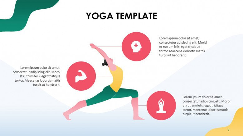 Benefits of yoga with health icons and an illustration