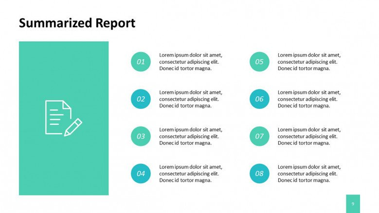 Summarized report slide for a project proposal presentation in corporate style