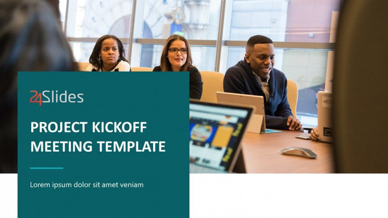 Project Kickoff Meeting PowerPoint Template in corporate style
