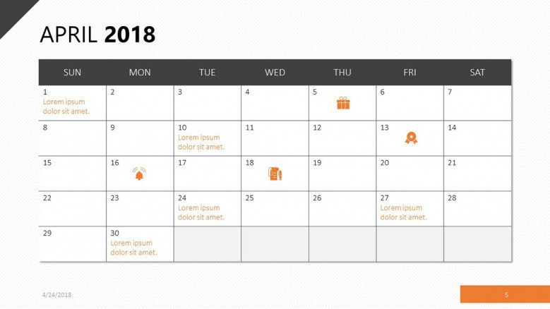 april 2018 calendar with events agenda