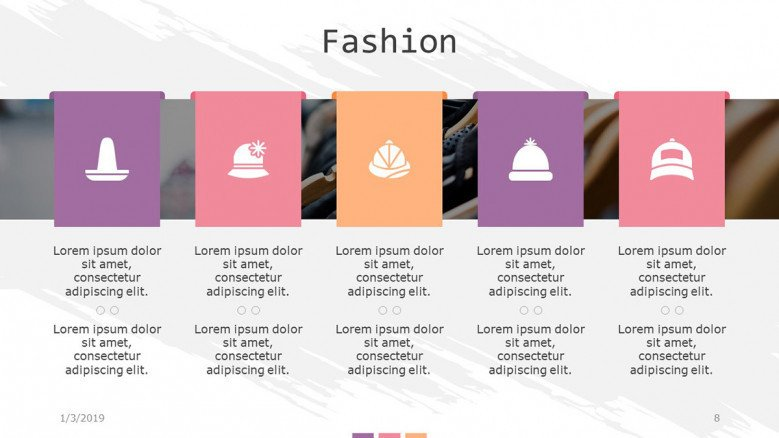 fashion slide in five key points with icons