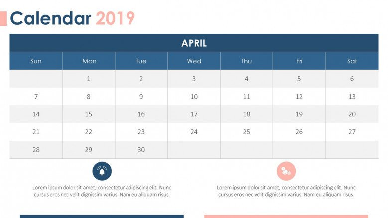 2019 calendar april with description text