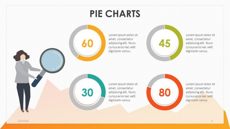 playful four pie chart with description text and illustration
