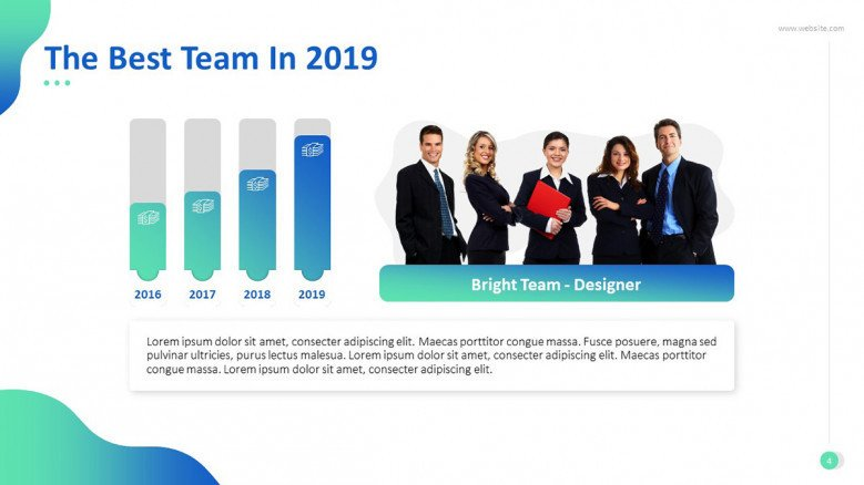 'The Best Team' congratulatory slide with data driven yearly statistics bar chart and team picture
