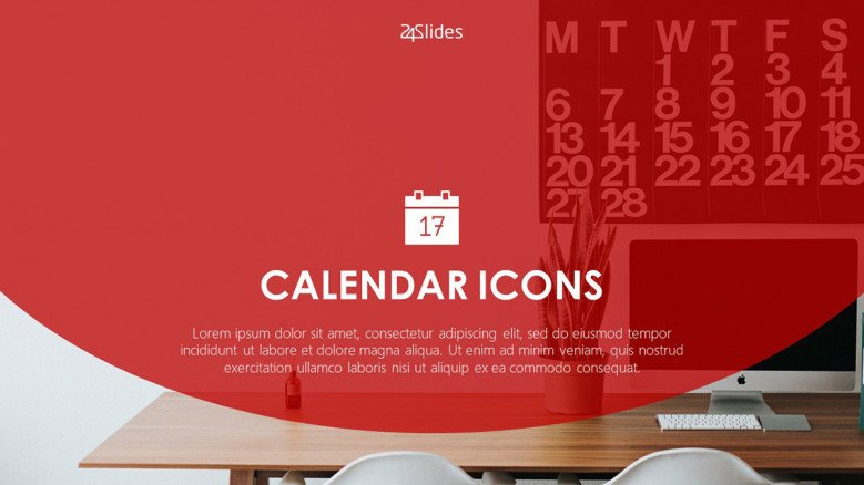 calendar icons welcome slide in corporate style