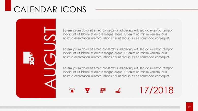 calendar with icons monthly overview in text