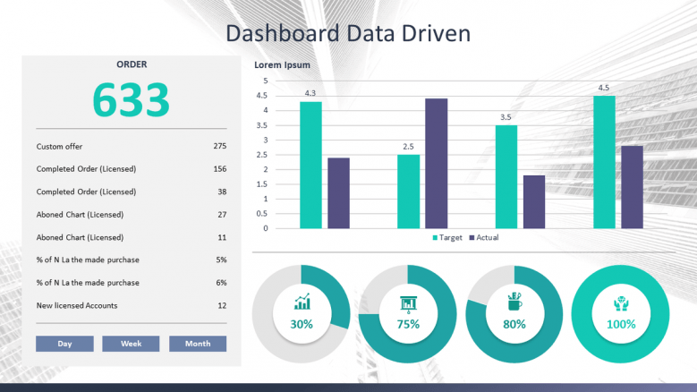 dashboard data driven slide with bar chart and pie chart for corporate data presentation