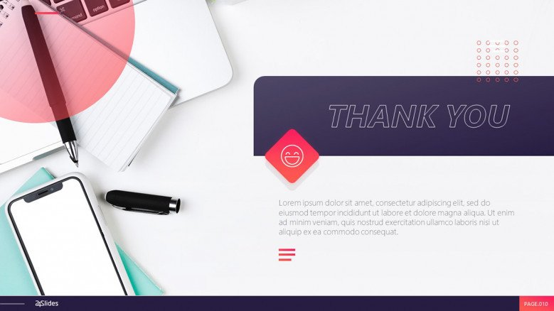 Creative thank you slide for a professional presentation