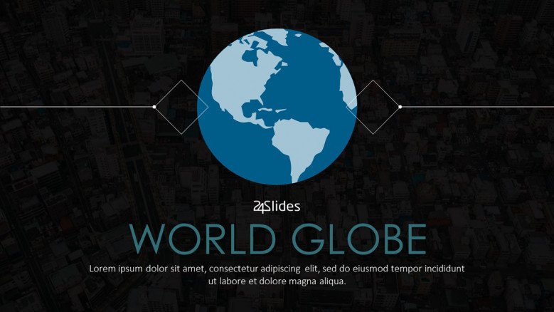 welcome slide for world globe presentation in corporate style