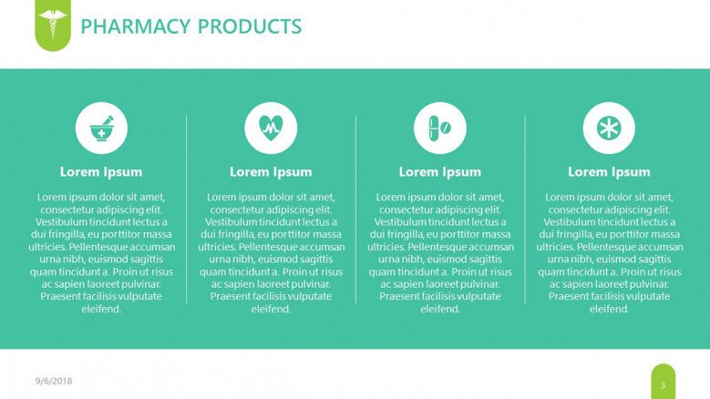 pharmaceutical pharmacy product slide in four key factors with description box