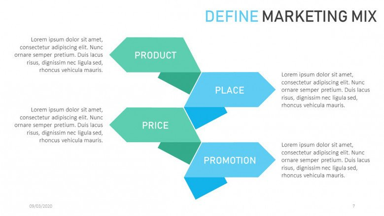 Marketing mix slide in corporate style