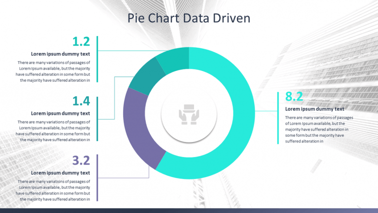 Corporate data presentation in pie chart with four major segments