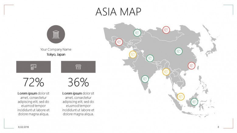 Map Of Asia Template.Asia Map Free Powerpoint Template