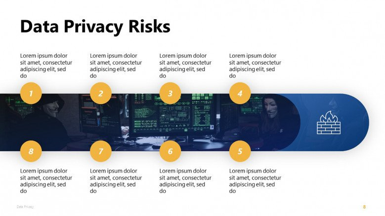 Data Privacy Risks PowerPoint Slide in creative style