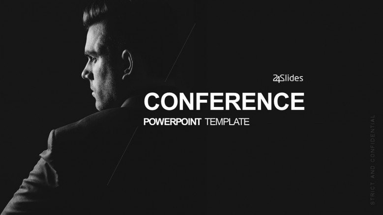 Keynote Conference Title Slide in minimalist black and white